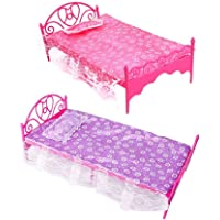 Sungpunet Topseller Plastic Mini Bed with Pillow and Sheet for Barbie Dolls Dollhouse