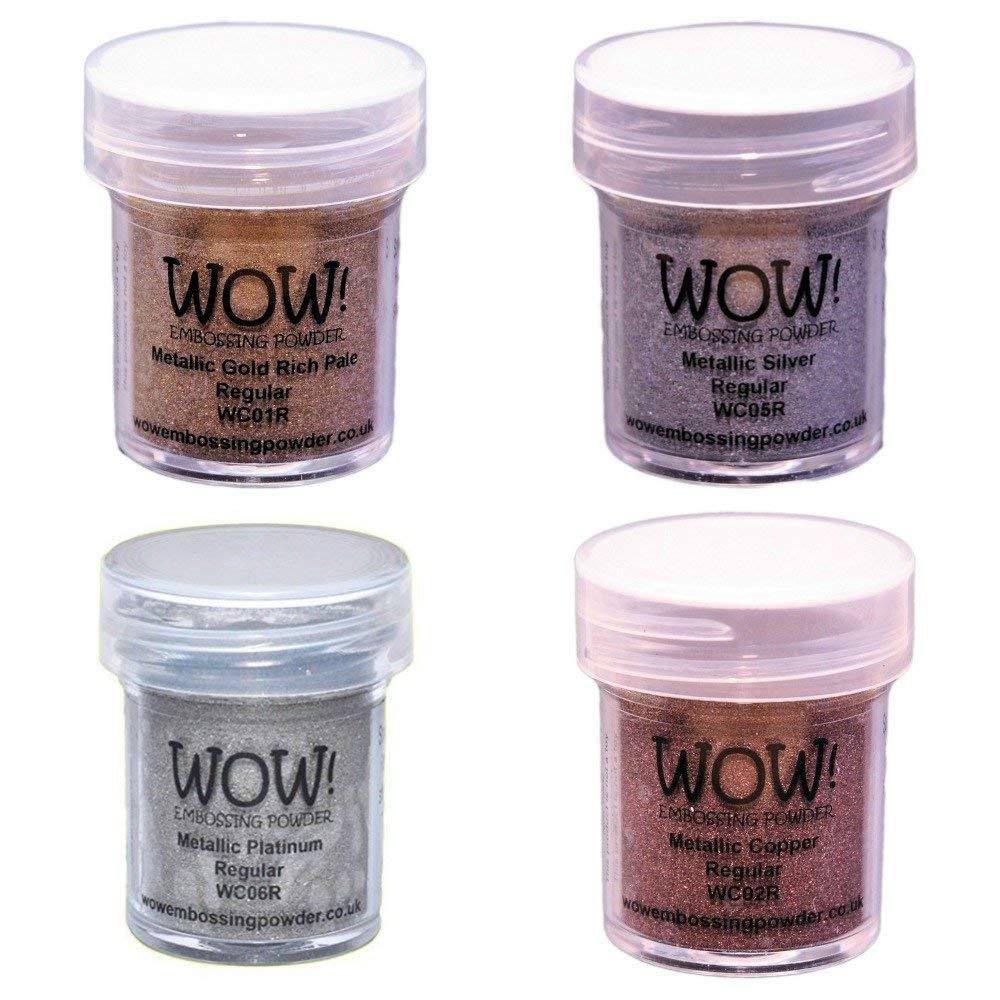 WOW! Embossing Powders Regular Metallic Bundle: 4pk Gold, Silver, Platinum and Copper, 15ml