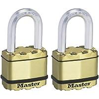 MASTER LOCK Candado Alta Seguridad [Llaves] [Acero Laminado y Acabado en Latón] [Exterior] [Arco M] [Lote de 2…