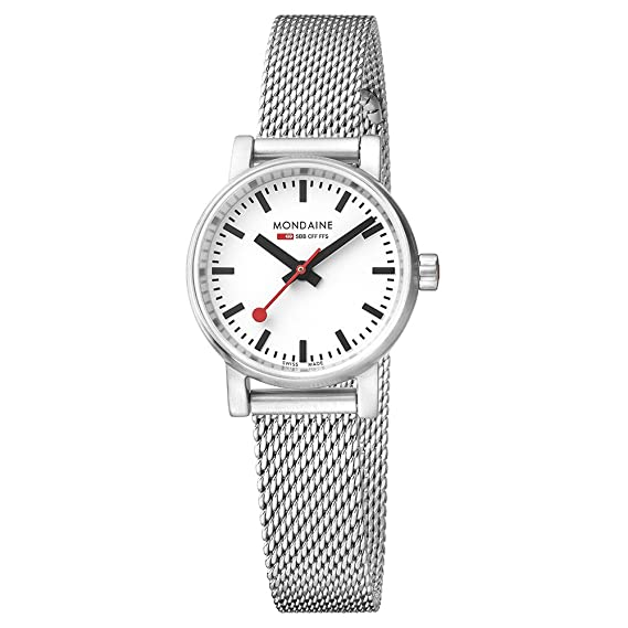 Mondaine evo2 petite 26mm sapphire Watch with St. Steel brushed Case white Dial and stainless steel mesh Strap MSE.26110.SM: Amazon.es: Relojes