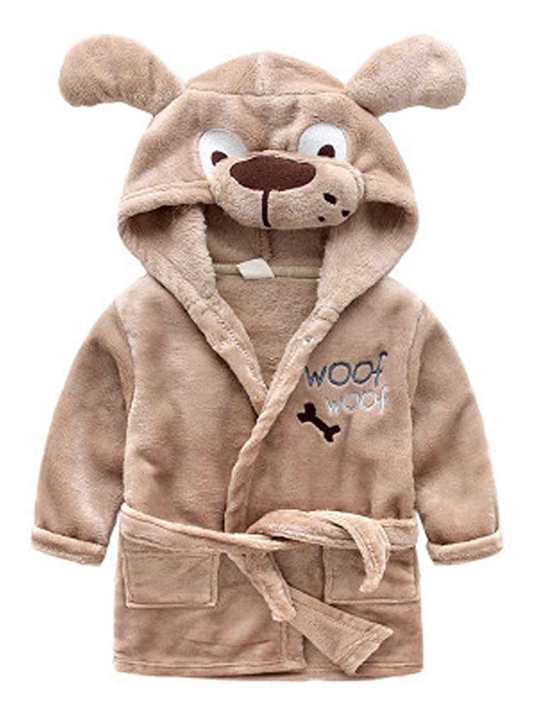 ARAUS Baby Hooded Bathrobe Flannel Cartoon Animal Bath Towel Robe Sleepwear Nightwear 1-7 Years 3960P10