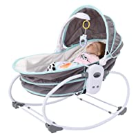 Pidgey Portable Baby Rocking Bassinet, Multi-Functional Electric Crib w/Canopy, Hanging Toys Music, Infant Newborn Rocker Cradle, Foldable Activity Travel Basket (Shipment from USA, Green)