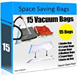 Space Saving Bags - 15 Premium Bag Set Vacuum Seal Storage Bag (Works With Any Vacuum Cleaner) Double-Zip Seal For Maximum Saver For Clothes, Blankets & Jackets