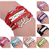 8 Pcs Christmas Gift Antique Infinity Leather Rope Bracelet One Direction Style Double Heart