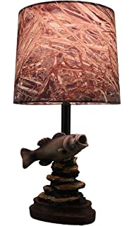 Vintage direct bass fishing table lamp amazon mossy oak fish accent lamp dark woodtone camo shade aloadofball Image collections