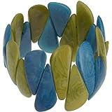 Les Poulettes Bijoux - Bracelet Elastique Manchette Tagua Vert et Turquoise