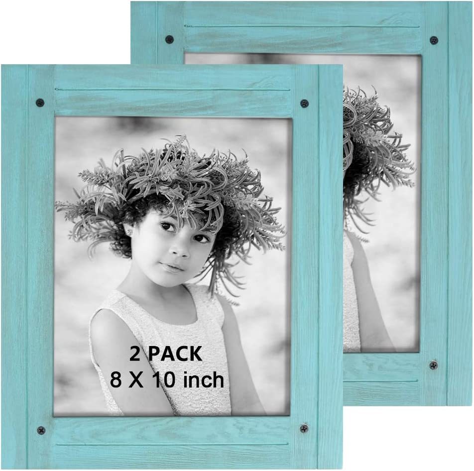 TNELTUEB 2 Pack Turquoise Blue Distressed Wood Frame - Rustic Shabby Chic Frame - Ready to Hang - Ready to Stand - with Self-Stand Easel (Display 8 x 10)