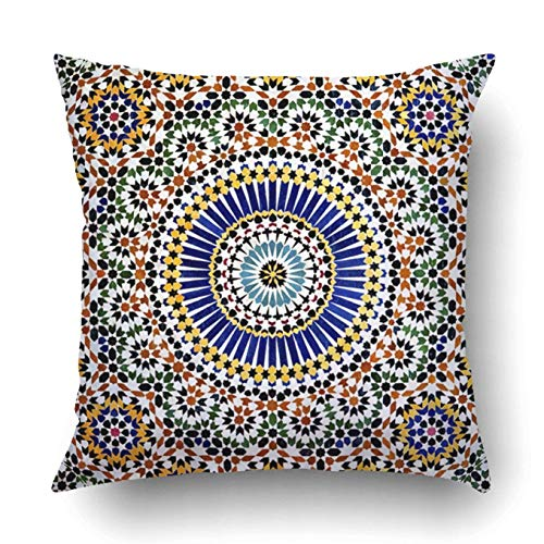 DIYCow Throw Pillow Covers Home Islamic Mosaic Kasbah Telouet Morocco Moroccan Cushion Case Decor Sofa Couch Square Size 20 x 20 Inches Pillowcase by DIYCow