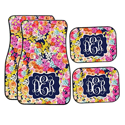(Glitter Squad Personalized Navy Floral Garden Car Mats (Set of)