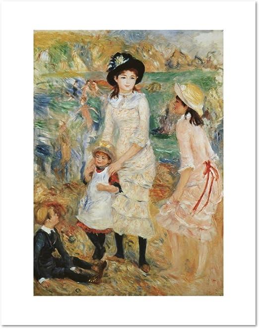 Renoir Woman Child Girl Flower Wall Picture Black Framed Art Print