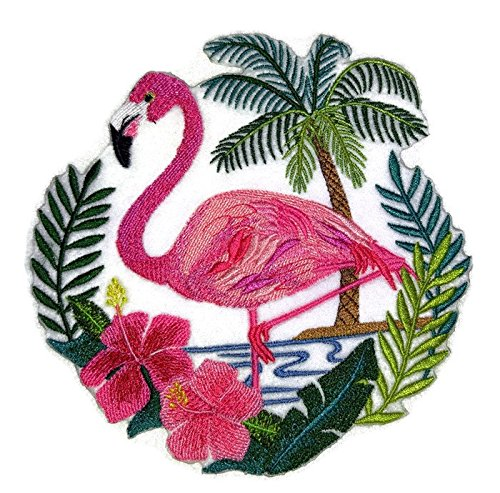 Nature weaved in threads, Amazing Birds Kingdom [Flamingo Scene] [Custom and Unique] Embroidered Iron on/Sew patch [5.85