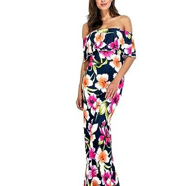 YoungG-3D Summer Ruffle Sundress Long Robe Floor Length Floral Printed Beach Dress Maxi Boho