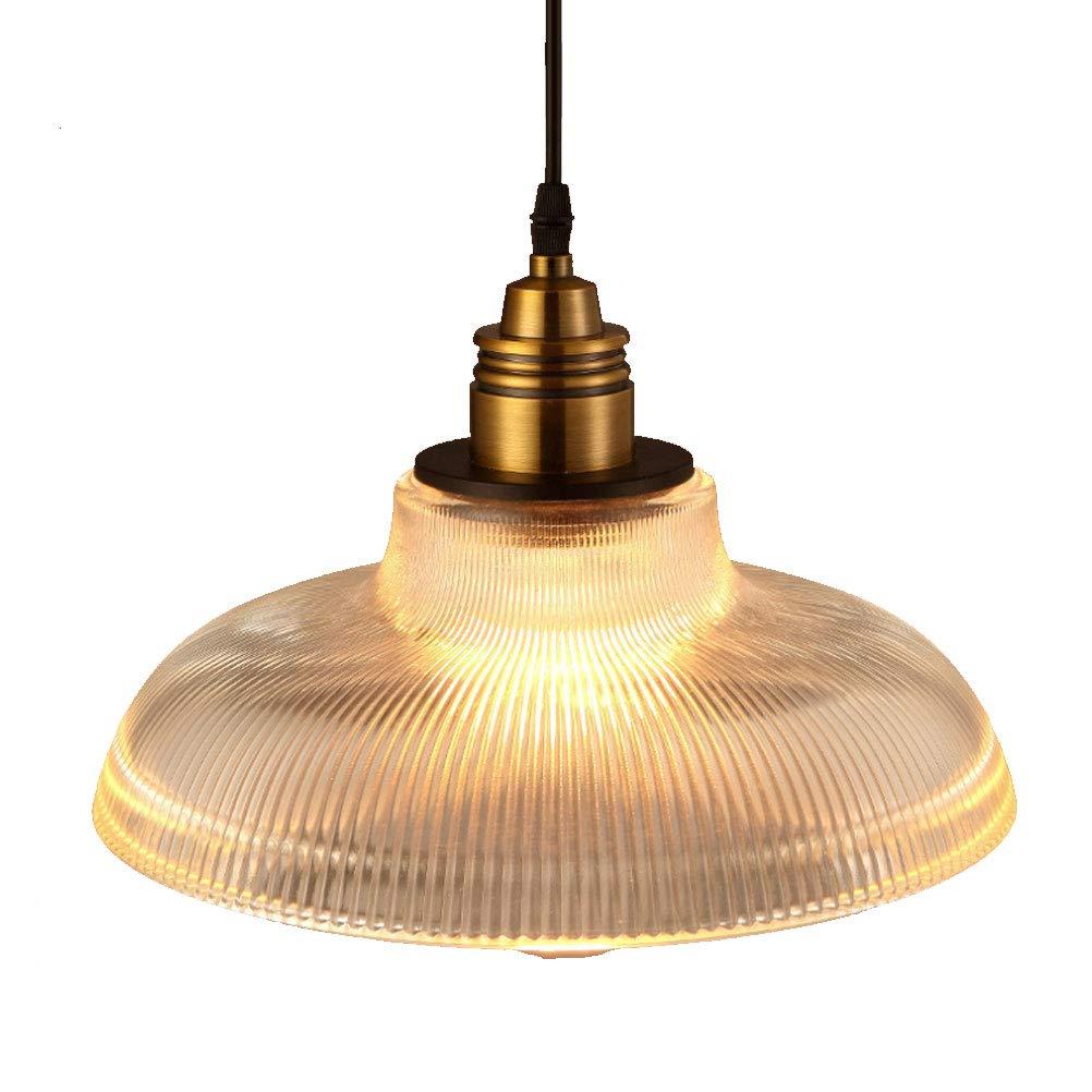 BIN Single-Head Chandelier, Striped Glass Lampshade, Ceiling Lighting,Amber