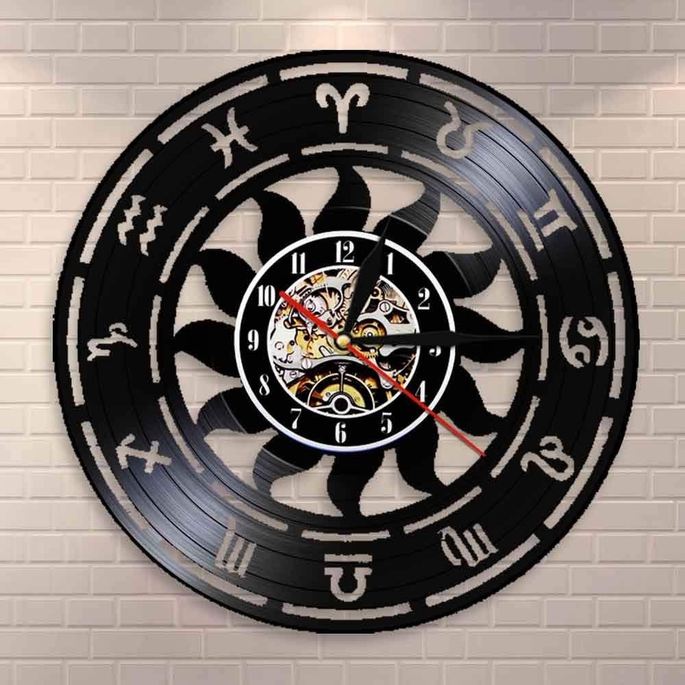 GVC Reloj de Pared de Tiempo de astronomía Zodiac Home Decor Astrology Vinyl Record Reloj de Pared Zodiac Wall Watch Astronomers Gift