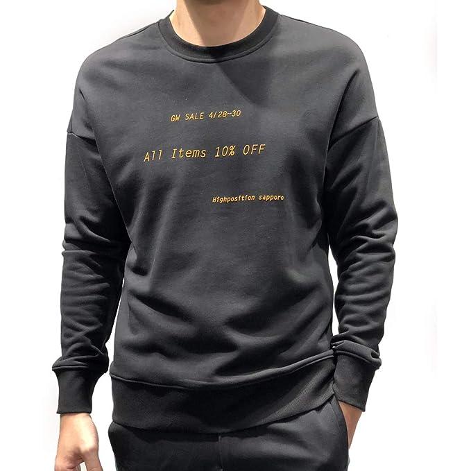 100% Algodón Sudadera para Hombre,Sweat Crew Neck,Sudaderas sin capuch,Camisa