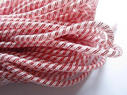 YYCRAFT One Roll 30 Yards Solid Mesh Tube Deco Flex for Wreaths Cyberlox Crin Crafts 8mm 3/8-Inch (Stripe Red)