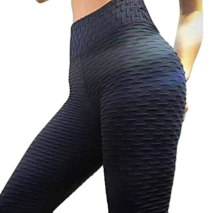 fa8e4291a50 Elogoog Women s High Waist Back Ruched Legging Butt Lift Yoga Pants with  Push up Sexy Workout