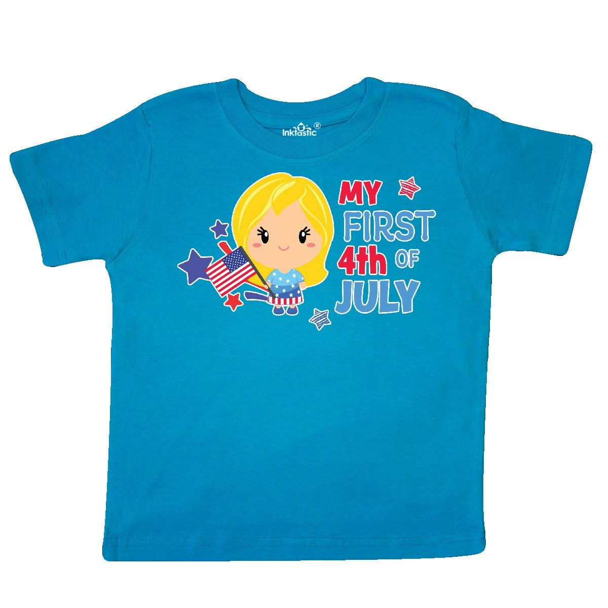 inktastic My First 4th of July with Blonde Haired Girl Stars and Toddler T-Shirt