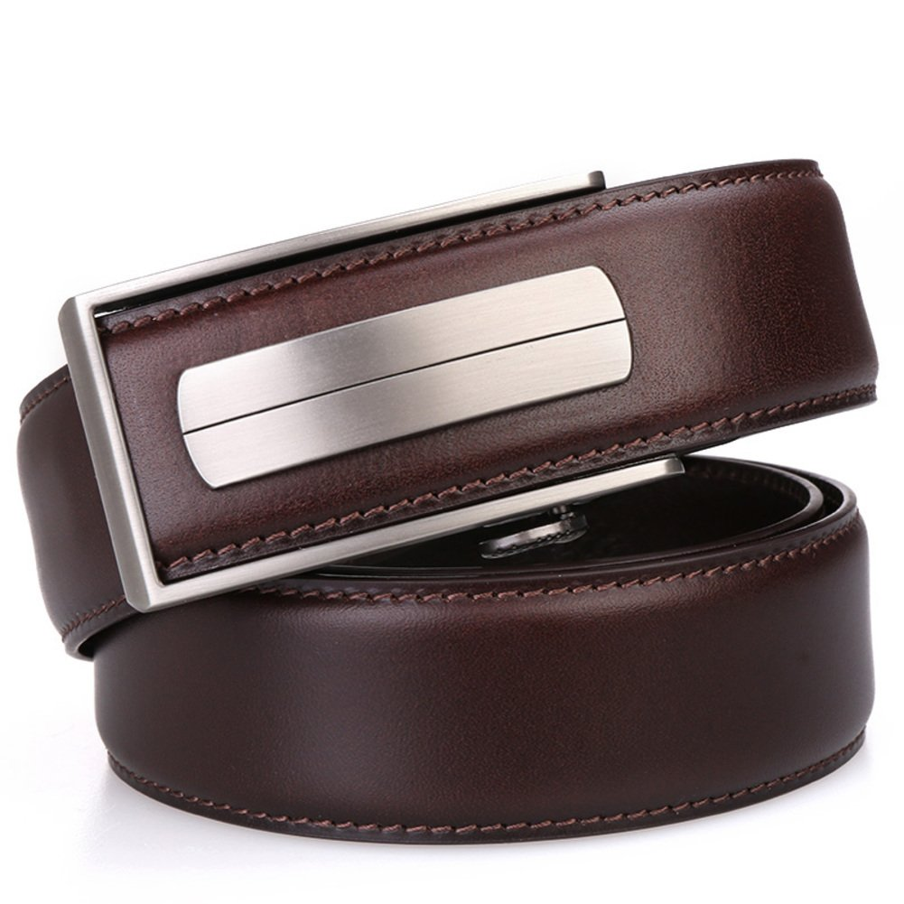 Men's Belt Automatic buckle belt Business belt-dark brown