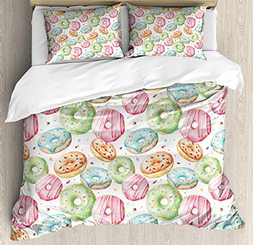 OUR WINGS Watercolor Duvet Cover Set Twin Size, Sweet Delicious Donuts Pattern with Various Flavors Sprinkles Stars Background, Decorative 4 Piece Bedding Set with 2 Pillow Shams, Multicolor (All Star Wings Best Flavours)