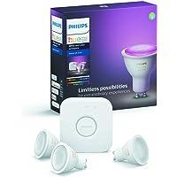 Philips Hue Starterkit - 3 Spots - GU10 - Duurzame LED Verlichting - Wit en Gekleurd Licht - Incl. Hue Bridge - Dimbaar…