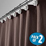 mDesign Long Hotel Quality Polyester/Cotton Blend Fabric Shower Curtain, Rustproof Metal Grommets - Waffle Weave for Bathroom Showers and Bathtubs, Easy Care - 72'' x 84'', Pack of 2, Chocolate Brown