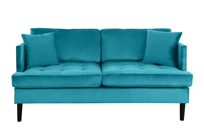 Mid Century Modern Velvet Loveseat Sofa with Tufted Seats (Blue)