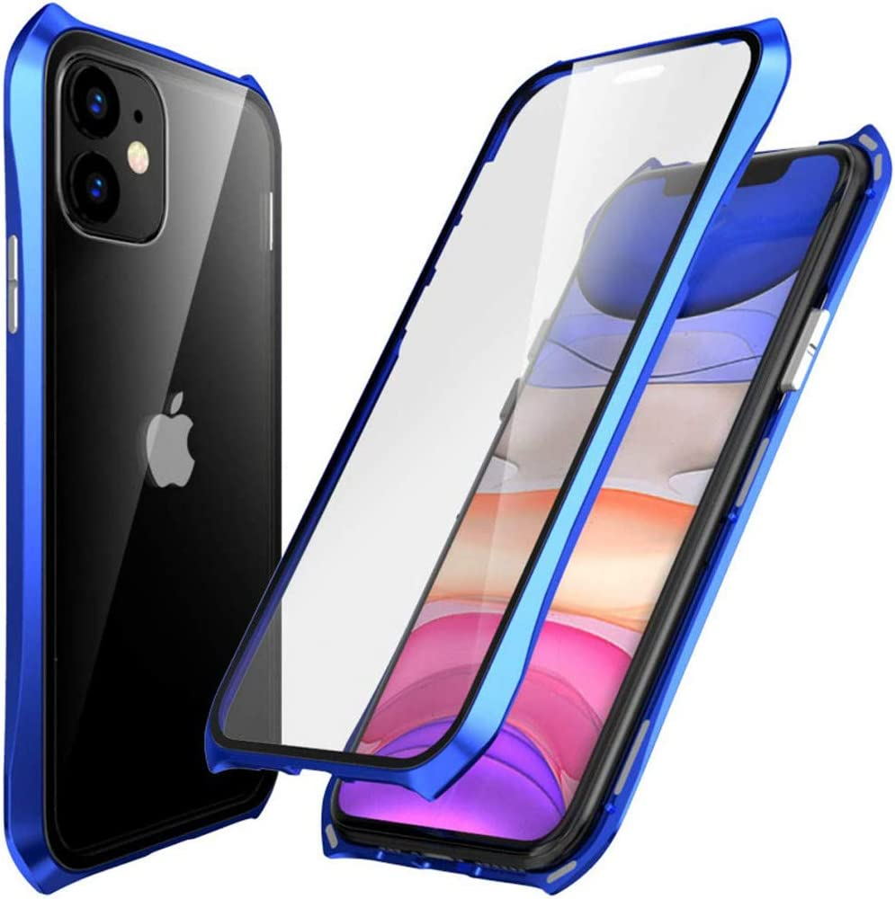 Antichoc Bumper en M/étal RAYOO Coque IPhone 11 Pro Max Transparente,Adsorption Magn/étique /étui Housse 360 Degr/és Protection Cas Dual Haptique Verre Tremp/é Case Cover pour IPhone11 Pro Max,Argent