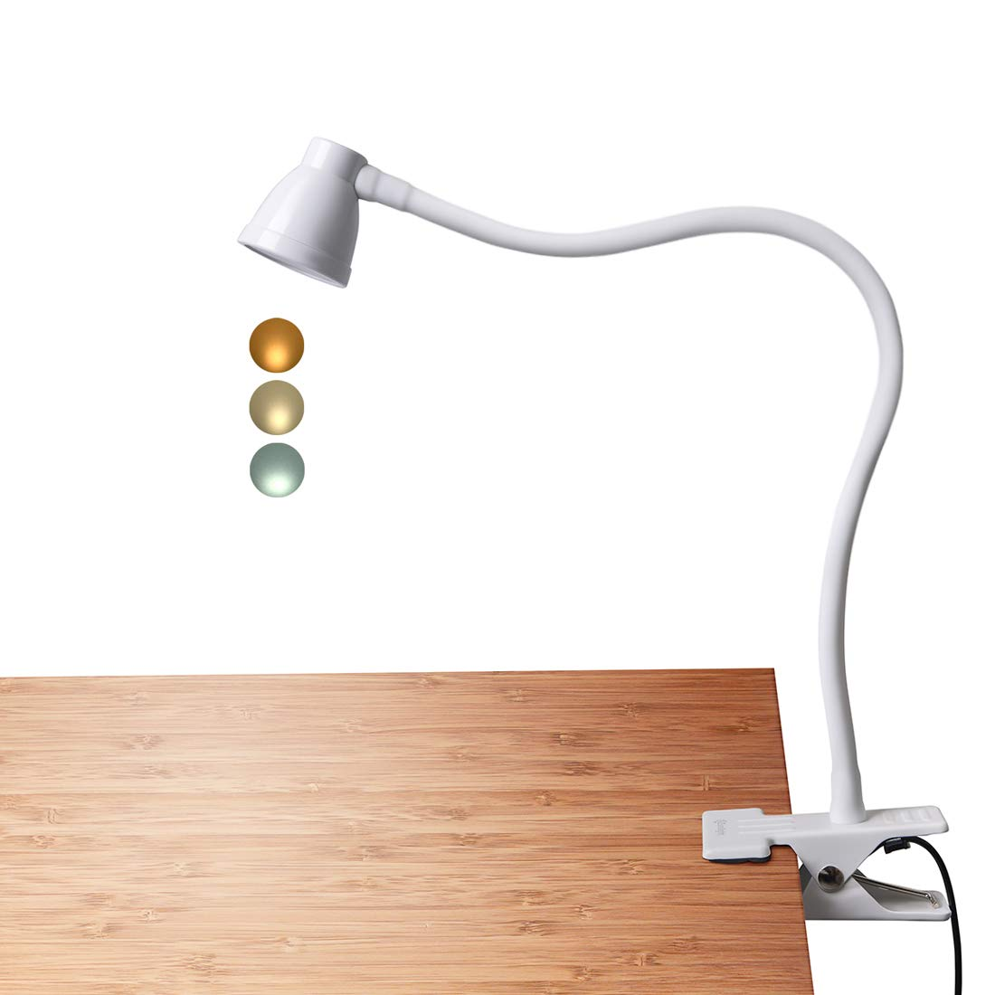 CeSunlight Clamp Desk Lamp, Clip on Reading Light, 3000-6500K Adjustable Color Temperature, 6 Illumination Modes, 10 Led Beads, AC Adapter and USB Cord Included (White) A8-White