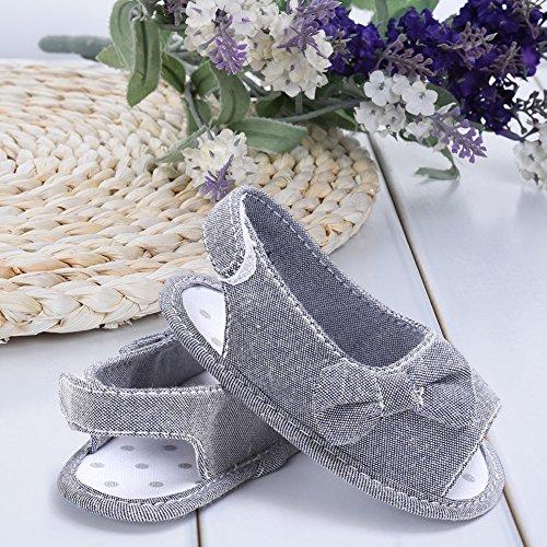 Pueri Sandalias Niñas Sandalias Lazo de Verano Zapatos Primer Paso Recién Nacido Gris