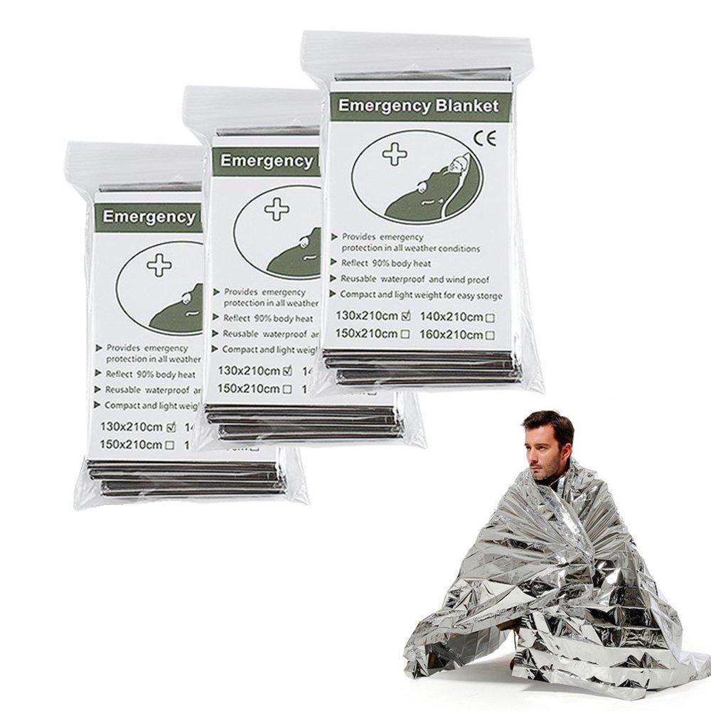 Mantas té rmicas de emergencia, mantas reflectantes de supervivencia y para primeros auxilios (plateada)., plata, 130*210cm DEYUANHAOTIAN
