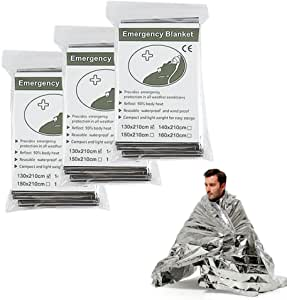 Emergency Thermal Blankets, Survival Reflective Thermal First Aid Foil Blanket (Silver) (3 Package)