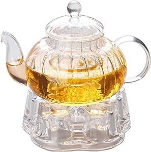 IwaiLoft Glass Teapot with Infuser, Stovetop Safe Tea Kettle, Blooming and Loose Leaf Tea Maker Set IW-G018 (20OZ, Pumpkin Teapot With Warmer)