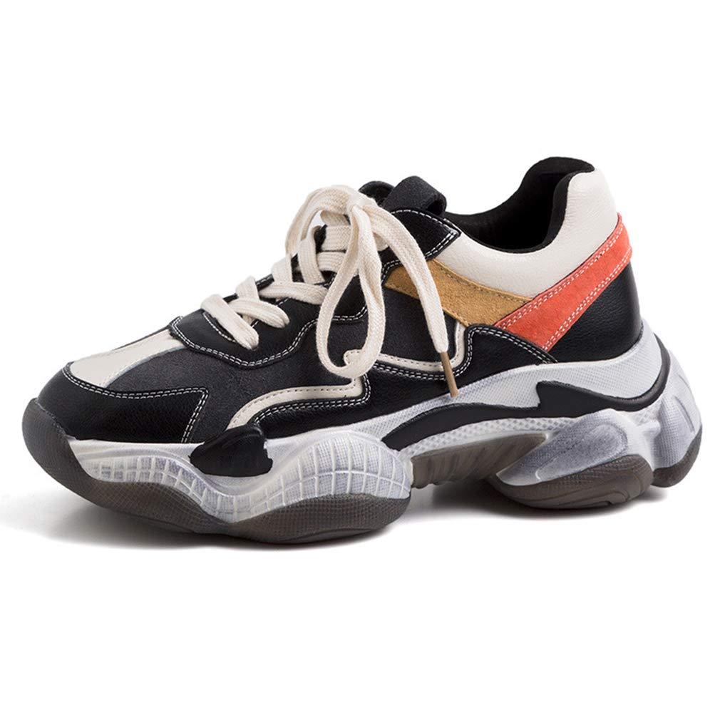 YAN Frauen Turnschuhe Neue 2019 Low-Top Sports schuhe Fashion Non-Slip Plattform Schuhe Athletic Schuhe Training Schuhe Weiß schwarz,A,36  | Vorzugspreis