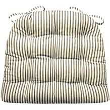 Dining Chair Pad with Ties - Black Ticking Stripe - Size Standard - Reversible, Tufted, Latex Foam Fill (Onyx)