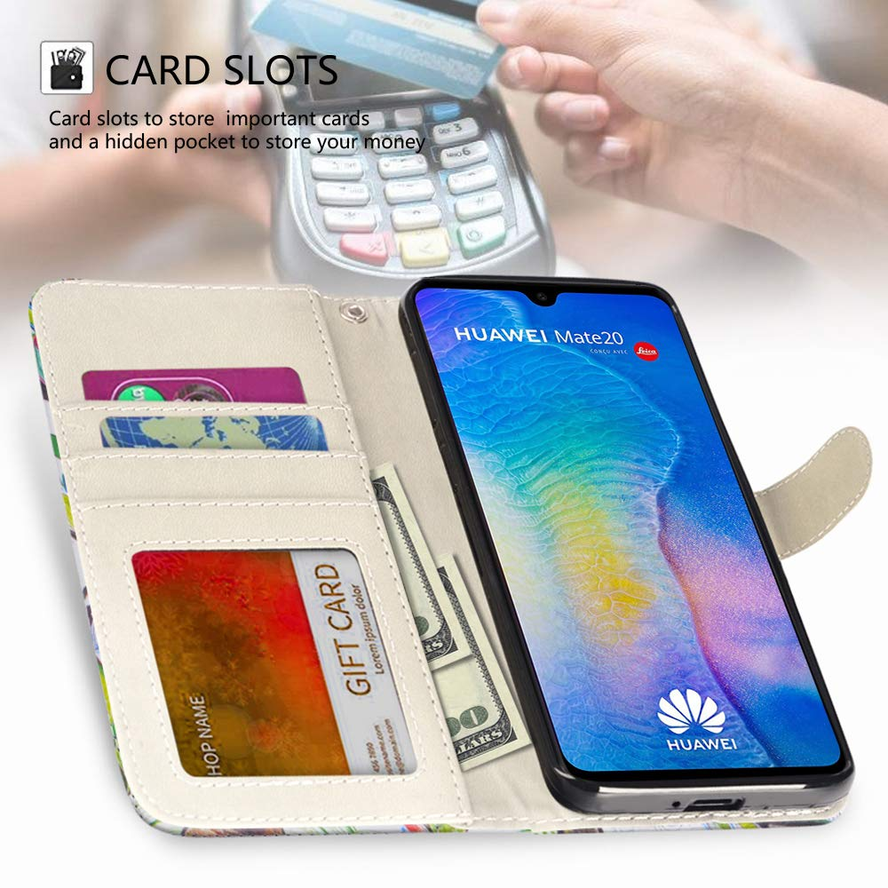 RusseryPek Huawei Mate 20 Case, Wallet Folio Flip Premium PU Leather Case Cover with Card Holder Slot Pockets,Wrist Strap,Kickstand,Magnetic Closure for Huawei Mate 20, Love Tree