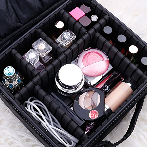 Docolor Portable Travel Makeup Train Bag Makeup Cosmetic Case Organizer Storage Bag for Cosmetics Makeup Brushes Toiletry Jewelry Digital accessories Christmas Gift (Black)