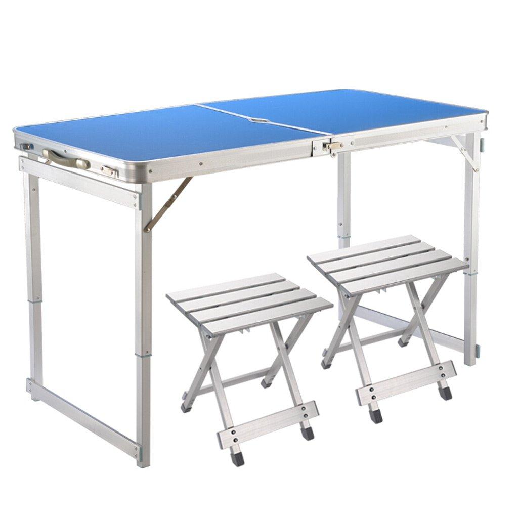 TMY Tragbare Tischhöhenverstellbare Klapptisch-Aluminiumlegierung im Freien für den Strand-Grill-Park, der mit 2 Aluminiumlegierungs-faltenden Schemeln kampiert (Farbe : Blau)