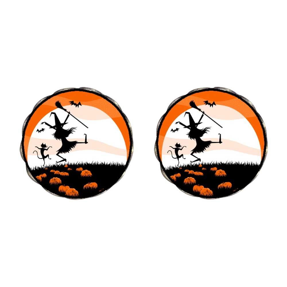 GiftJewelryShop Bronze Retro Style Halloween witch cat in pumpkin field moon Flower Stud Earrings #14