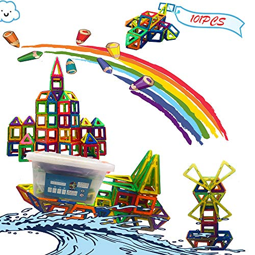 NEW EYES Magnetic Blocks Magnetic Tile 101 PCS Set Magnet Building Blocks Creative Construction Fun Magnetic Tiles Kit for Toddlers Educational Toys for Kids Boys and Girls