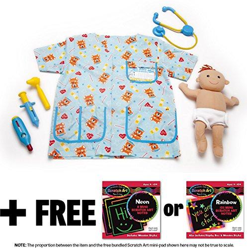 Little Kid Stick Person Costume (Pediatric Nurse Costume +Free Melissa & Doug Scratch Art Pad Bundle [85199])