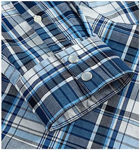 Western Shirts for Men with Snap Buttons Regular Fit Plaid Mens Long Sleeve Shirts Casual