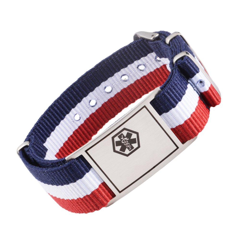 Tarring NATO Sports Canvas band Medical id bracelets- CUSTOMIZE-engraving by Tarring