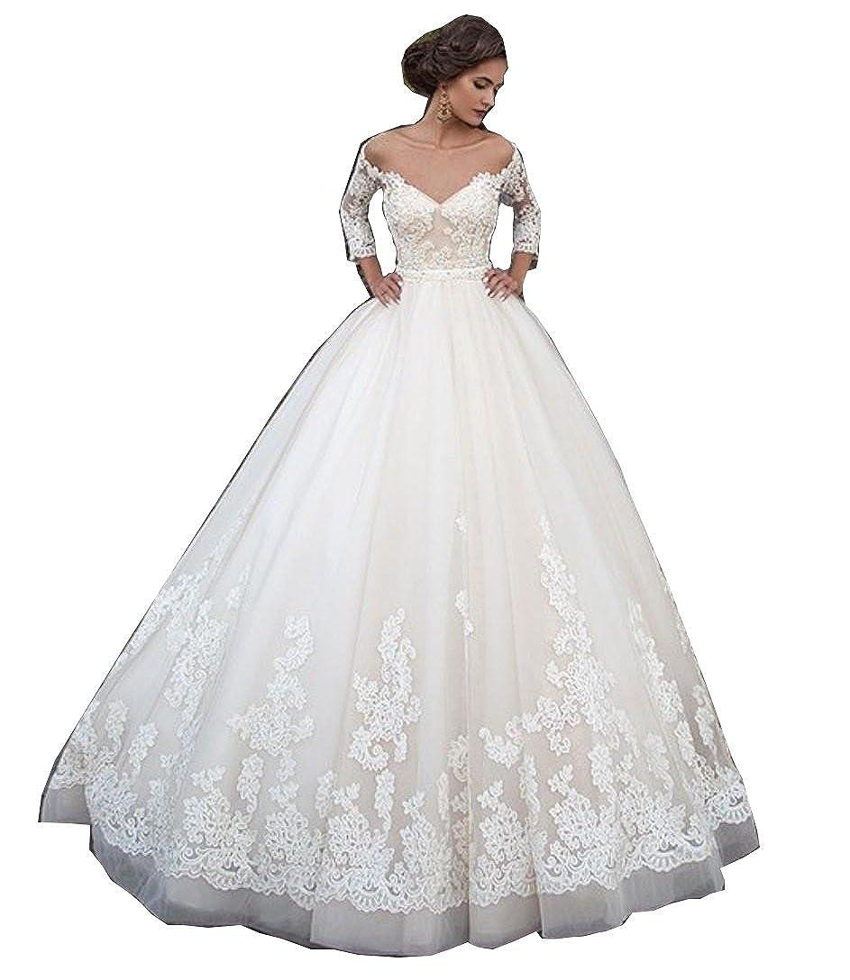 Fanciest Womens Lace Wedding Dresses for Bride 2018 3//4 Sleeve Wedding Dress