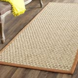 Safavieh Natural Fiber Collection NF114B Basketweave Natural and  Brown Seagrass Runner (2'6'' x 20')
