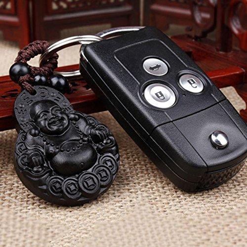 Bolange Ciondolo per Portachiavi a Forma di Portachiavi Auto di Buddha in Legno di Palissandro
