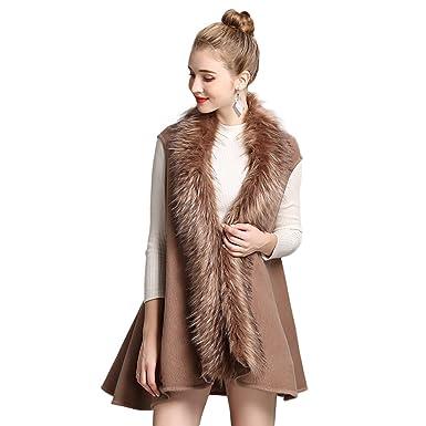 ef8f6f18ac2855 JTENGYAO Damen Weste Schal Warm Wolle-Kragen Leicht Asymmetrisch Loose  Armlos Jacke Winter