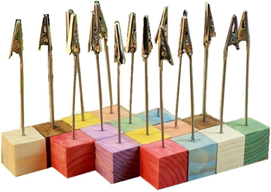 Tinksky 16pcs Pine Base Photo Holder Stand Card Note Desk Memo Clip Wedding Favors (Random Color)