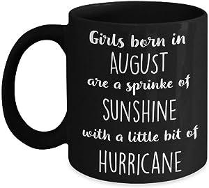 DKISEE August Birthday Gift, August Coffee Mug, August Birthday Idea, Ladies Girls Birthday Present, Birthday Gift for Her, Coffee Cup Two Tone Mug 11oz