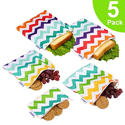 Reusable Snack Bags, Reusable Sandwich Bags-Pack of 5, FDA Passed Food Safe Fabric Snack Bags for Kids, Better Alternative to Single-Use Plastic Bags, Save Money & Protect Environment - Colorful Wave: Kitchen & Dining